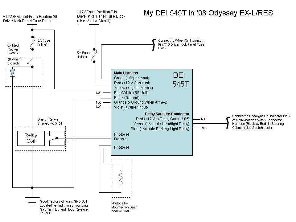 adding auto on lights to 08 ex l page 2 rh odyclub com dei 535t install manual Viper 5901 Install Manual