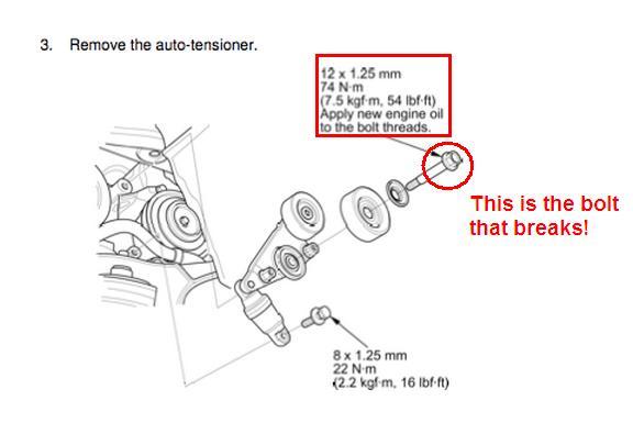 2005 odyssey belt tensioner bolt keeps breaking off