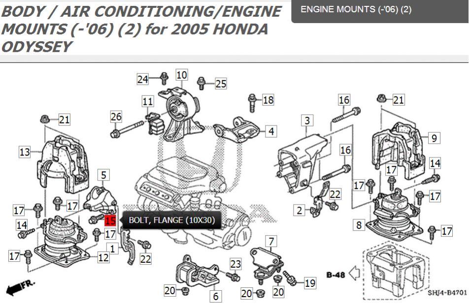 2005 Exl Lower Half Of The Side Engine Mountrhodyclub: Honda Odyssey Engine Mount Schematics At Gmaili.net