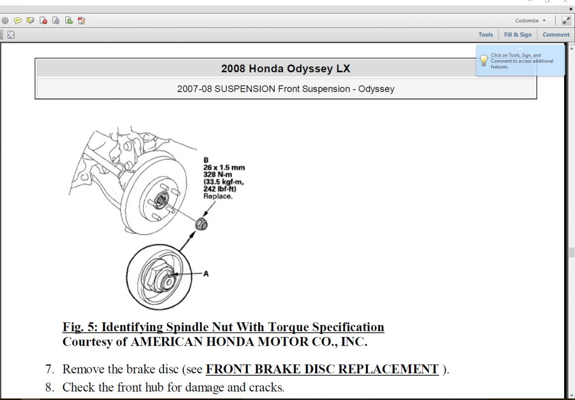 2007 Ex L Axle Nut Torque Setting Seeing Multiple Figures