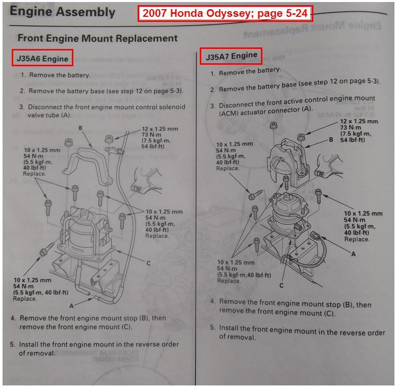 Replacing Front Motor Mountrhodyclub: Honda Odyssey Engine Mount Schematics At Gmaili.net