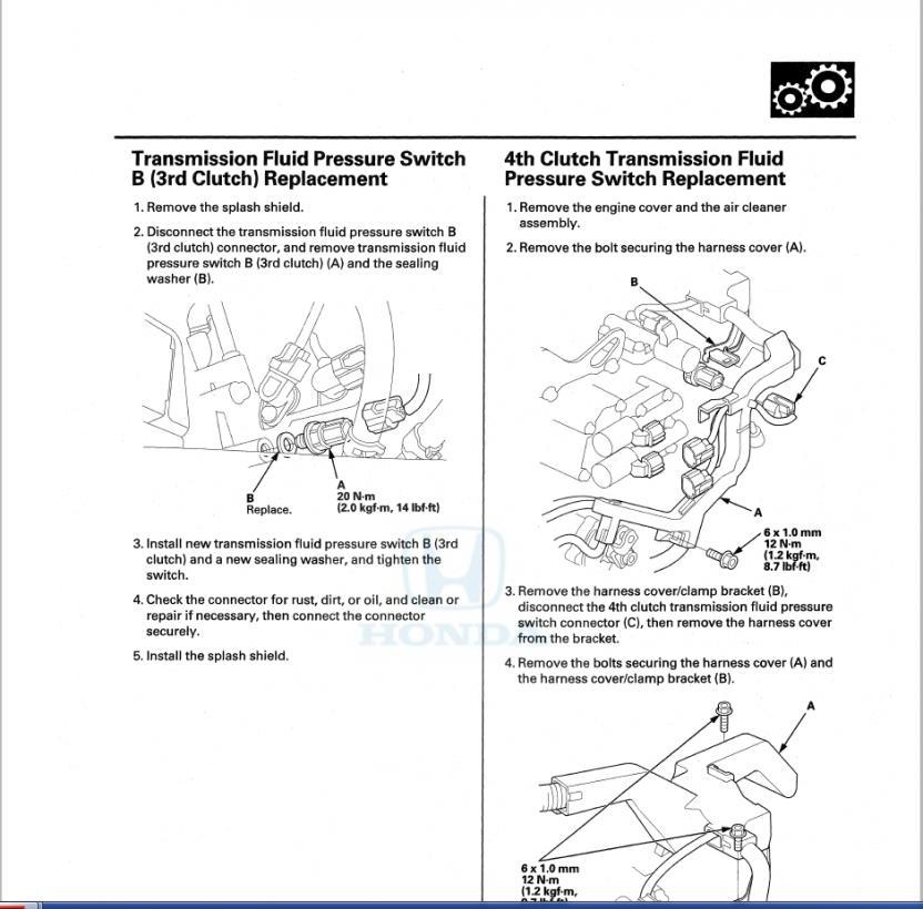 2007 Odyssey P0848 - Transmission Fluid Pressure switch | Honda